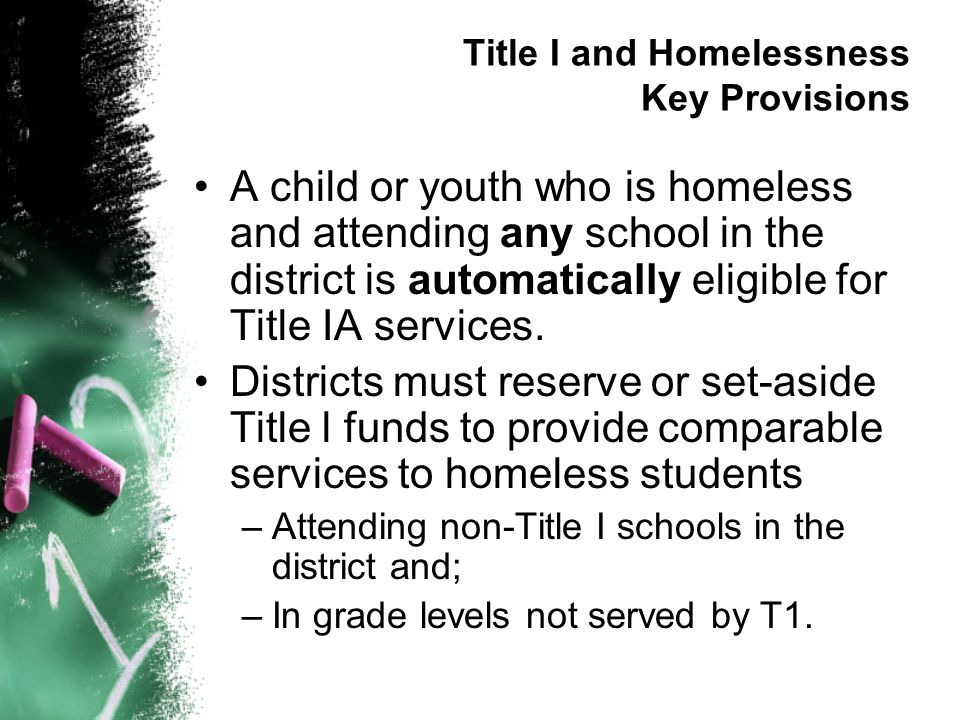 Title I and Homelessness Key Provisions