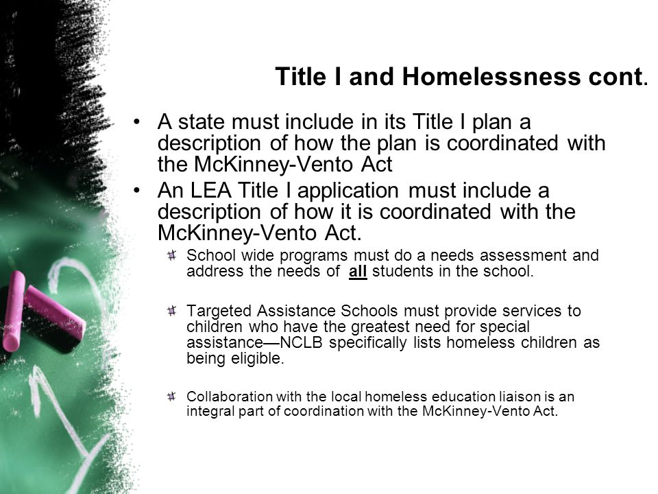 Title I and Homelessness cont.