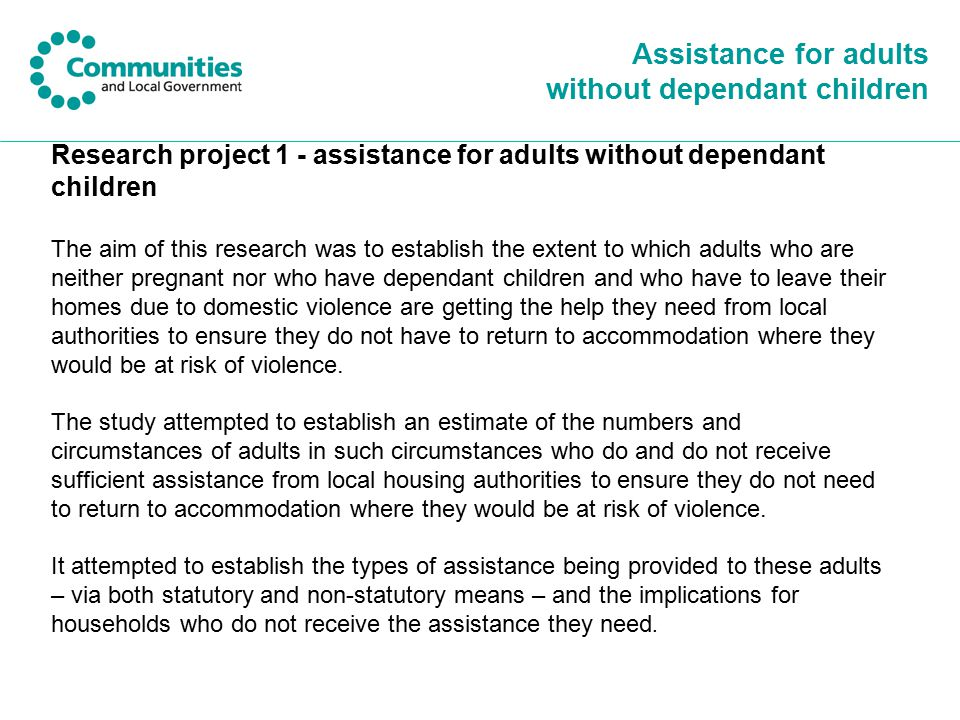 Assistance for adults without dependant children