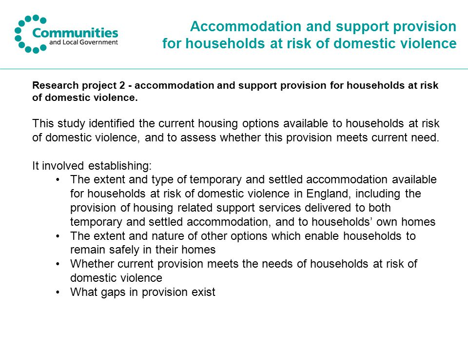 Accommodation and support provision for households at risk of domestic violence