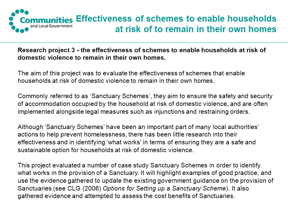 Effectiveness of schemes to enable households at risk of to remain in their own homes