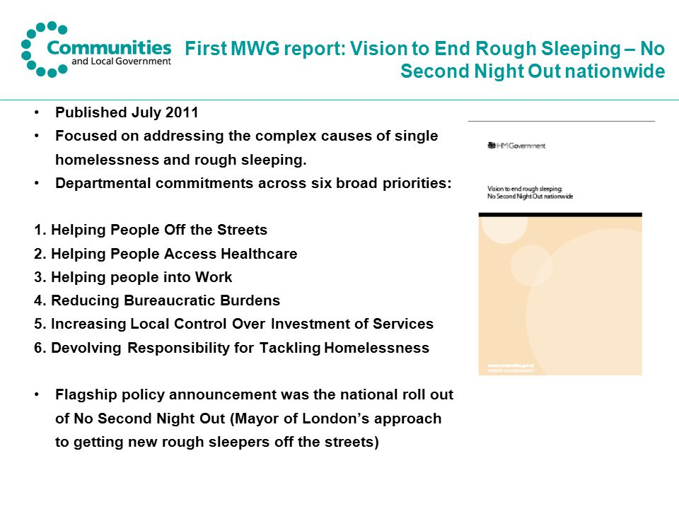 First MWG report: Vision to End Rough Sleeping – No Second Night Out nationwide