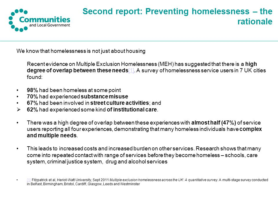 Second report: Preventing homelessness – the rationale