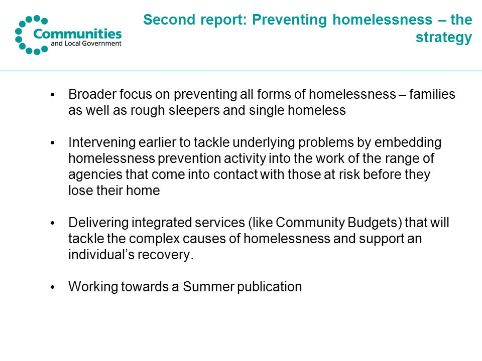 Second report: Preventing homelessness – the strategy