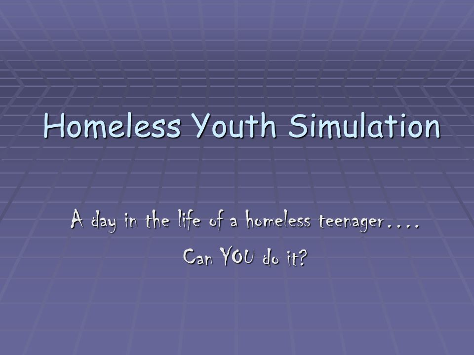 Homeless Youth Simulation