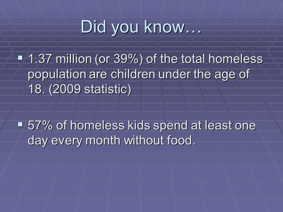 Did you know… 1.37 million (or 39%) of the total homeless population are children under the age of 18. (2009 statistic)