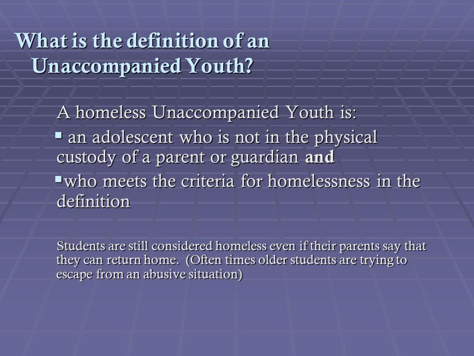 What is the definition of an Unaccompanied Youth