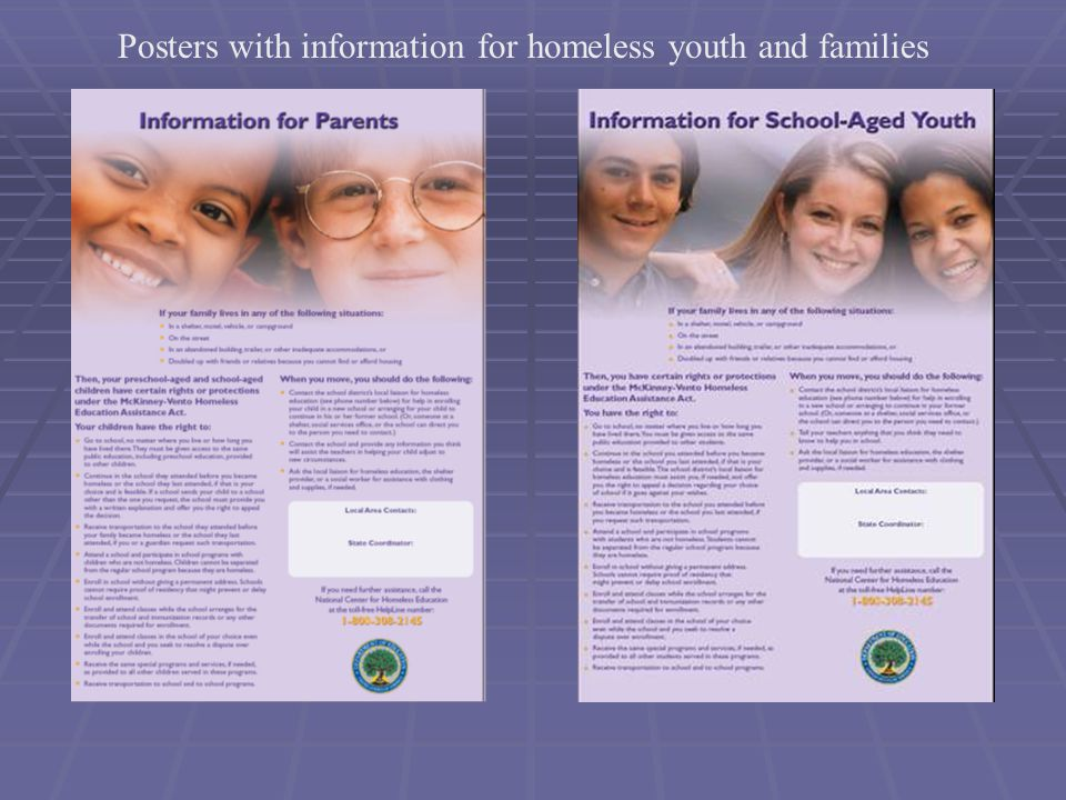 Posters with information for homeless youth and families