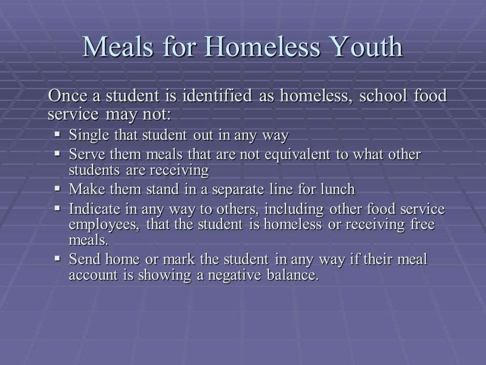 Meals for Homeless Youth