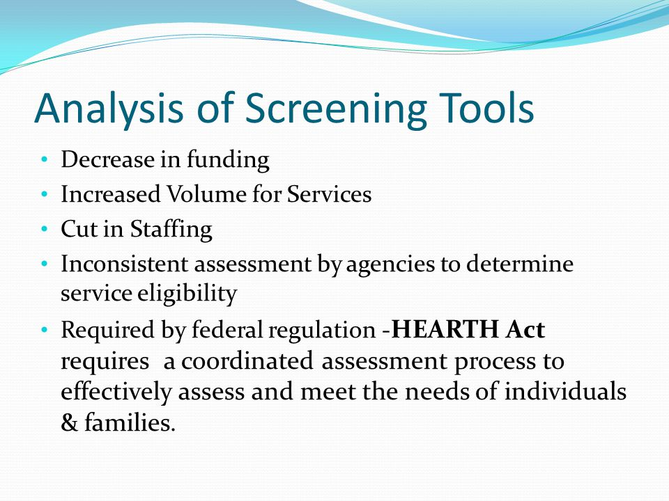 Analysis of Screening Tools