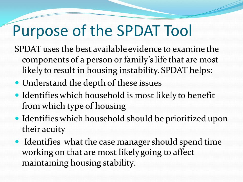 Purpose of the SPDAT Tool