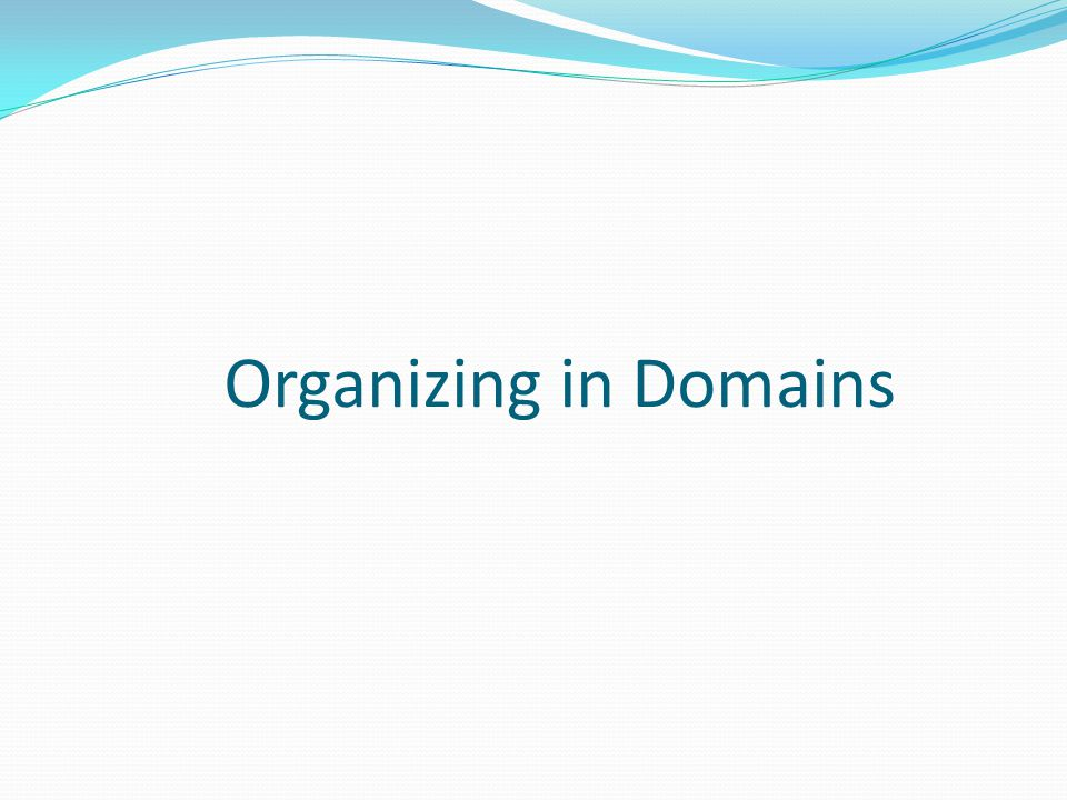Organizing in Domains