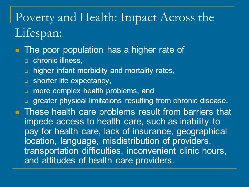 Poverty and Health: Impact Across the Lifespan: