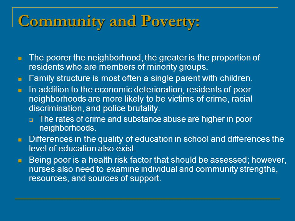 Community and Poverty: