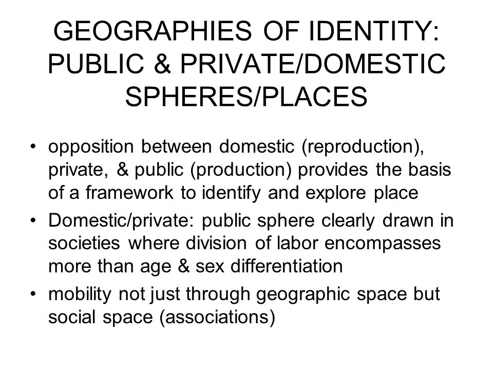 GEOGRAPHIES OF IDENTITY: PUBLIC & PRIVATE/DOMESTIC SPHERES/PLACES