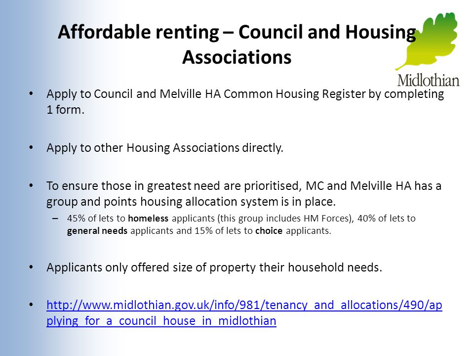 Affordable renting – Council and Housing Associations