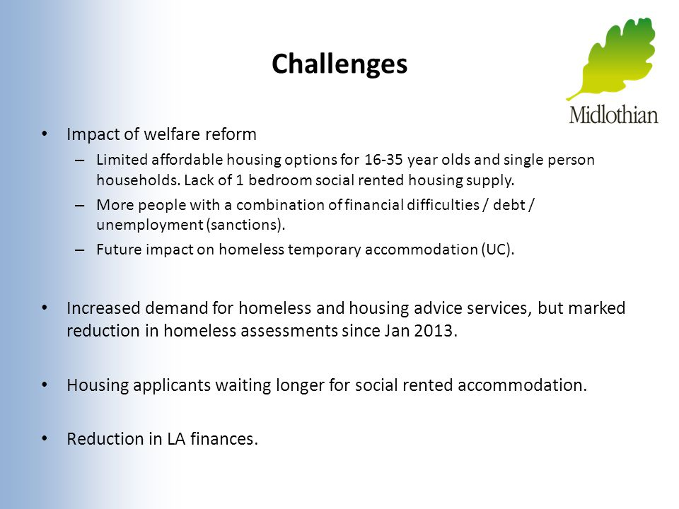 Challenges Impact of welfare reform