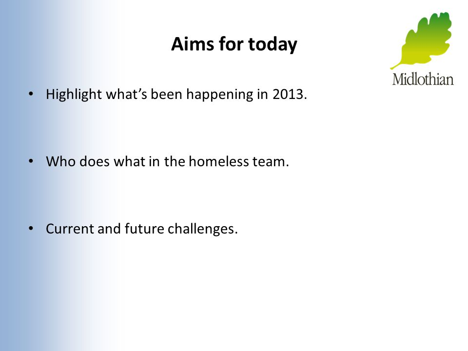 Aims for today Highlight what's been happening in 2013.