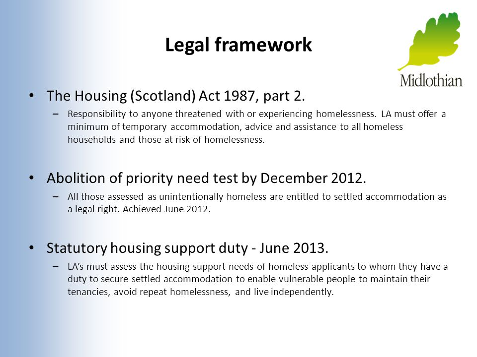 Legal framework The Housing (Scotland) Act 1987, part 2.
