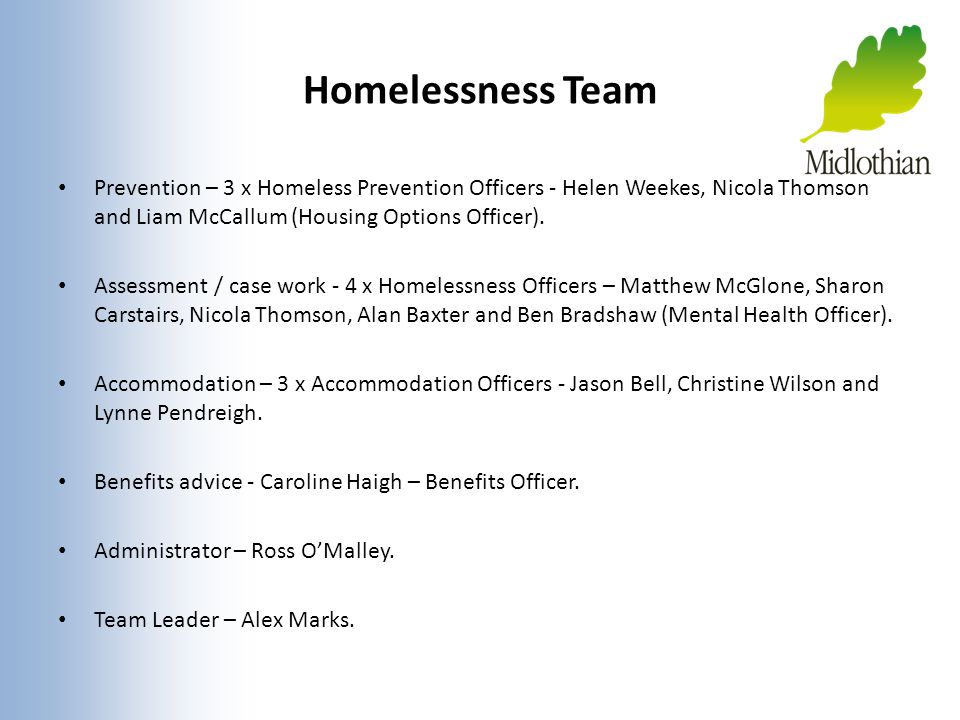 Homelessness Team Prevention – 3 x Homeless Prevention Officers - Helen Weekes, Nicola Thomson and Liam McCallum (Housing Options Officer).