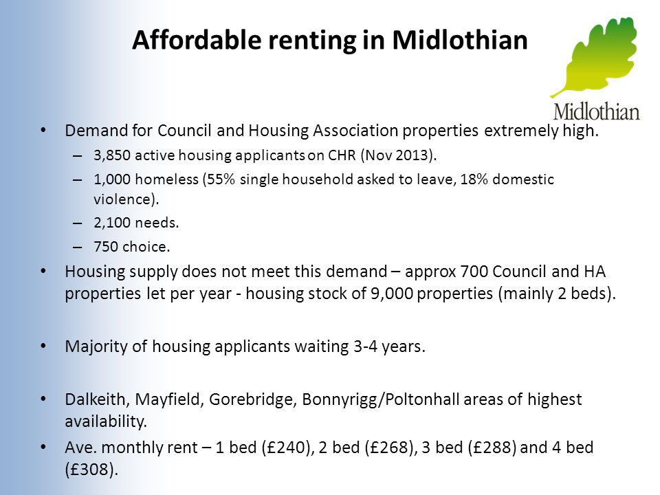 Affordable renting in Midlothian