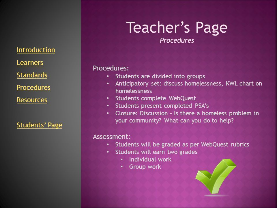 Teacher's Page Procedures Introduction Learners Standards Procedures