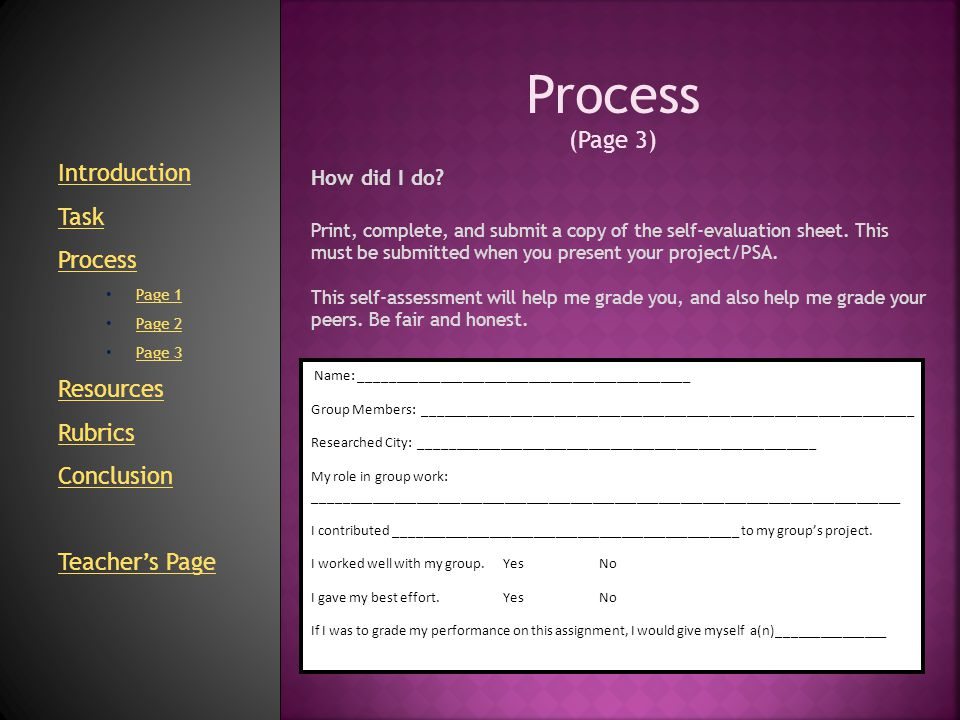 Process (Page 3) Introduction Task Process Resources Rubrics