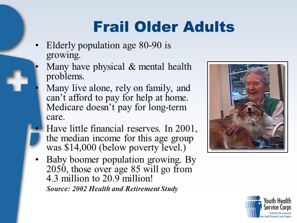 Frail Older Adults Elderly population age 80-90 is growing.