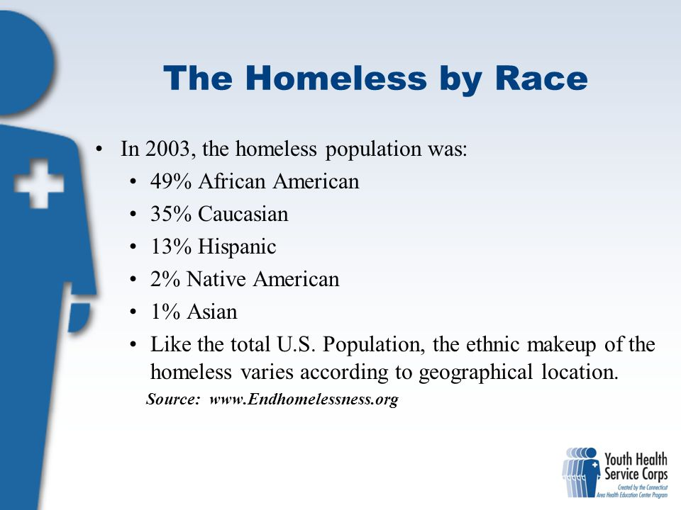 The Homeless by Race In 2003, the homeless population was:
