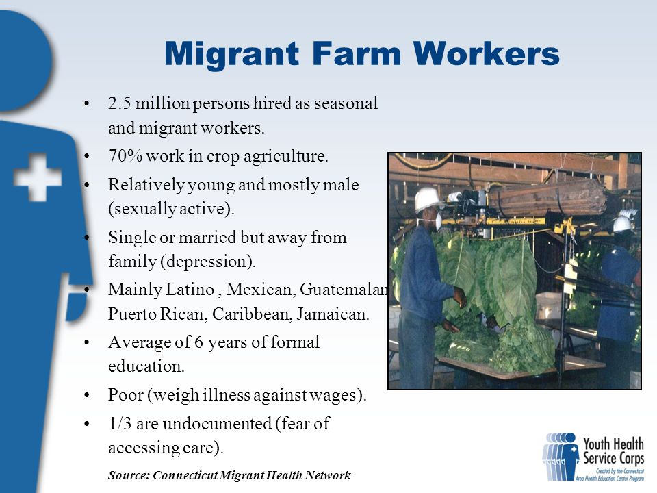 Migrant Farm Workers 2.5 million persons hired as seasonal and migrant workers. 70% work in crop agriculture.