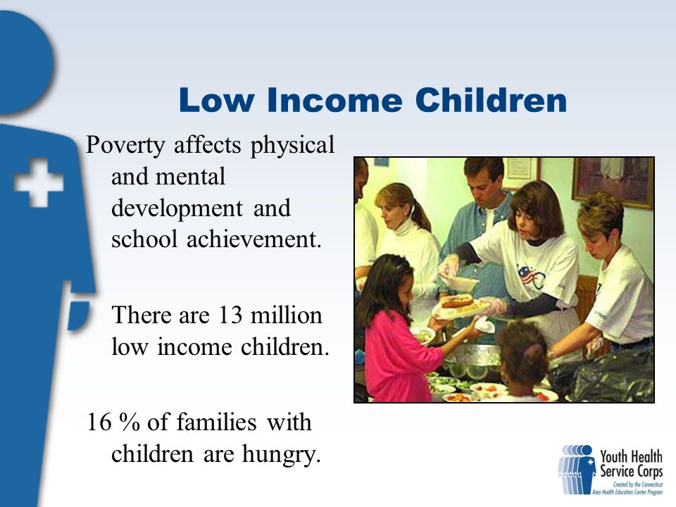 Low Income Children Poverty affects physical and mental development and school achievement. There are 13 million low income children.