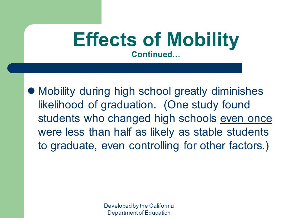 Effects of Mobility Continued…