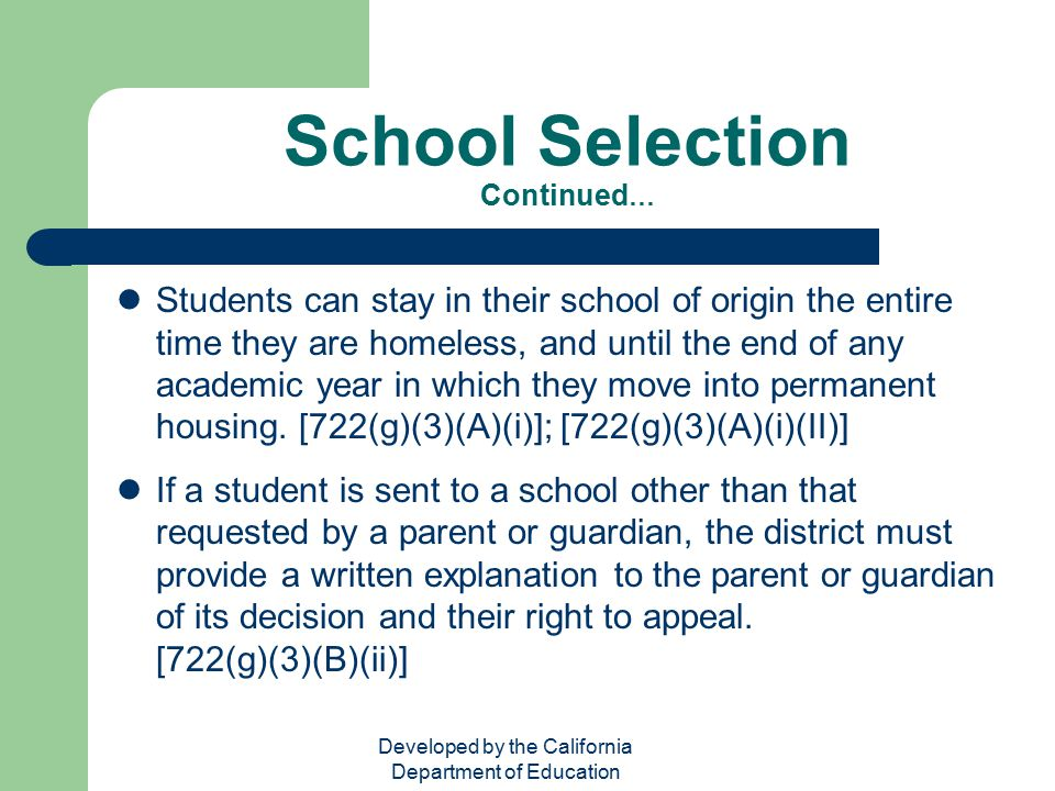 School Selection Continued…