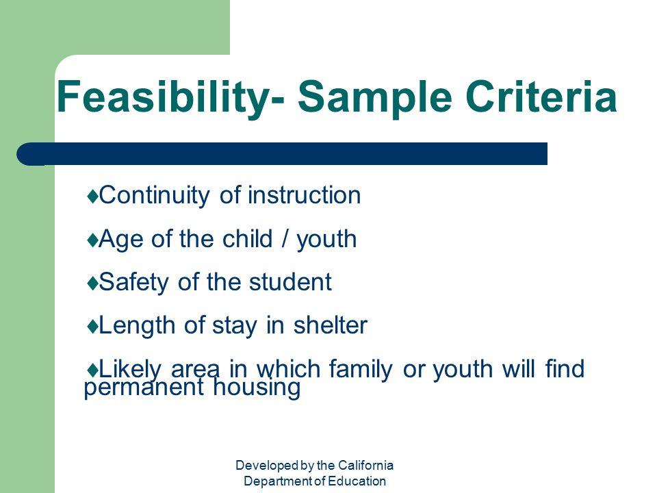 Feasibility- Sample Criteria