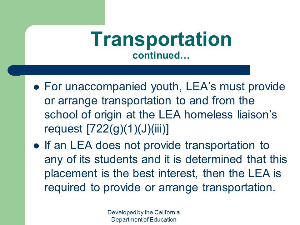 Transportation continued…