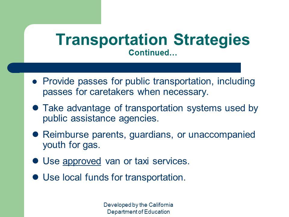 Transportation Strategies Continued…