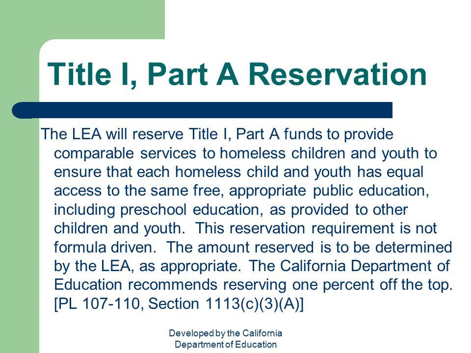 Title I, Part A Reservation
