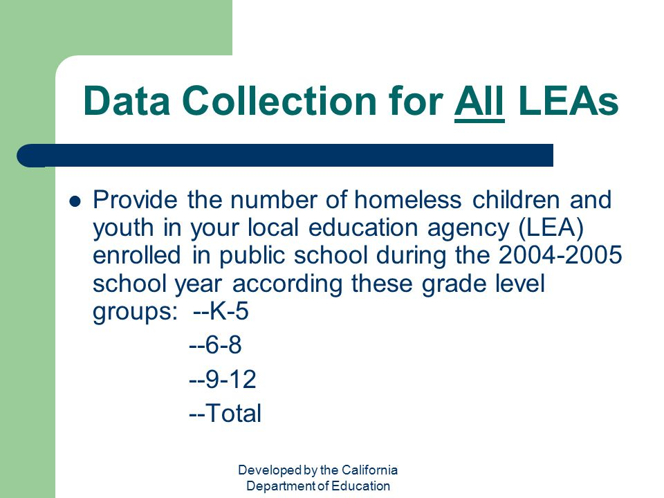Data Collection for All LEAs