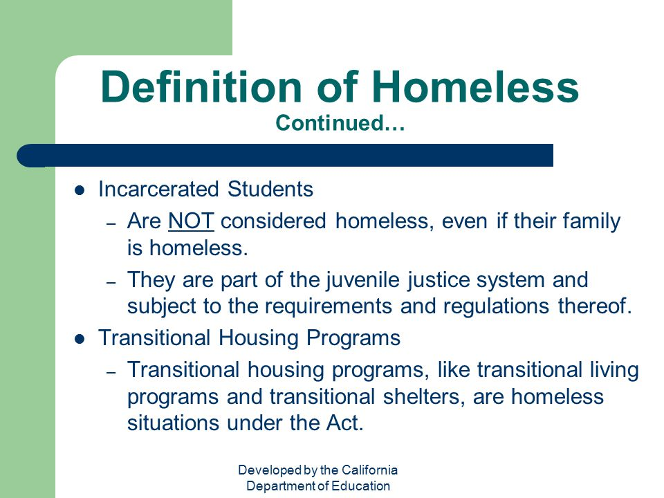 Homeless Education Act No Child Left Behind Title X Part