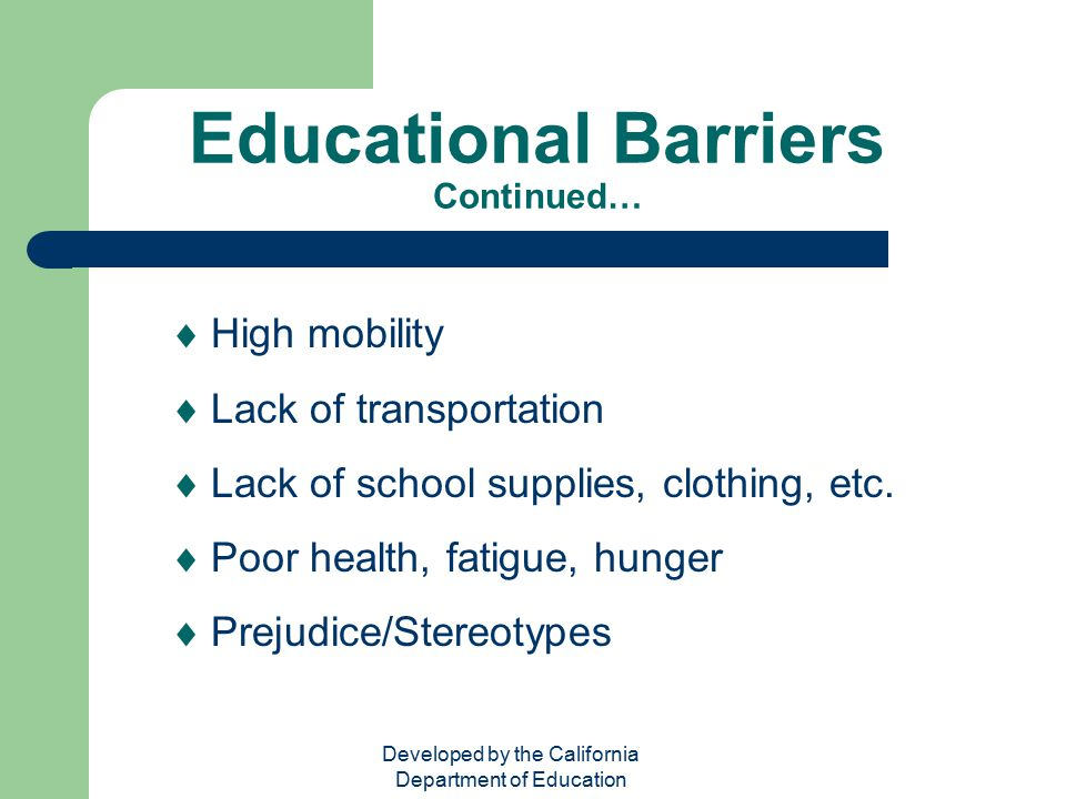 Educational Barriers Continued…