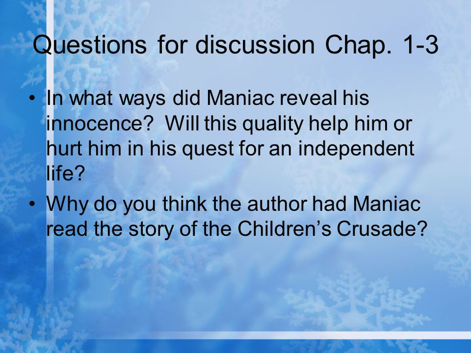 Questions for discussion Chap. 1-3