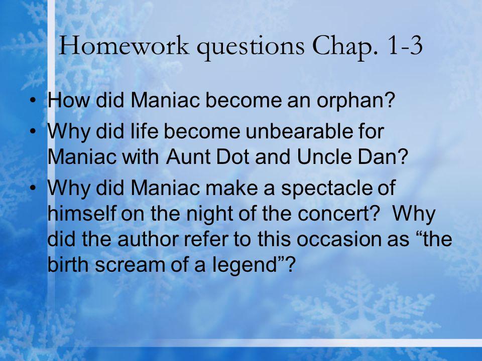 Homework questions Chap. 1-3