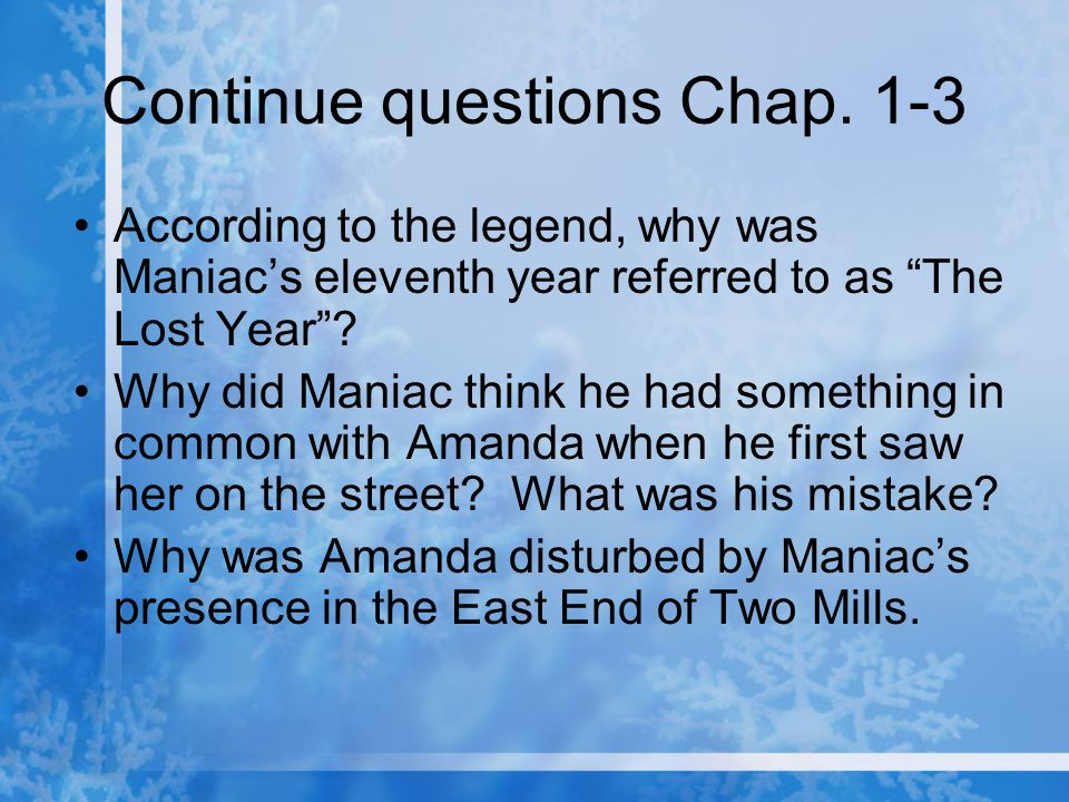 Continue questions Chap. 1-3
