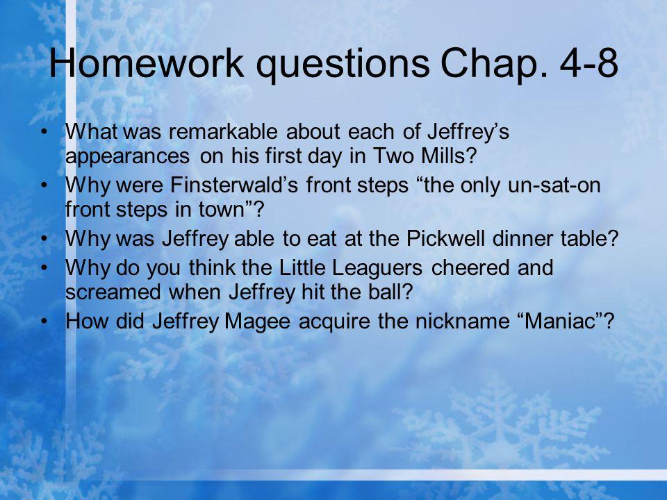 Homework questions Chap. 4-8