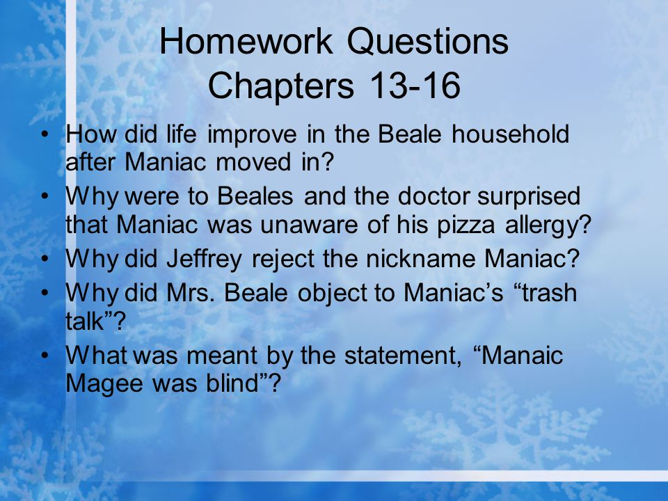 Homework Questions Chapters 13-16