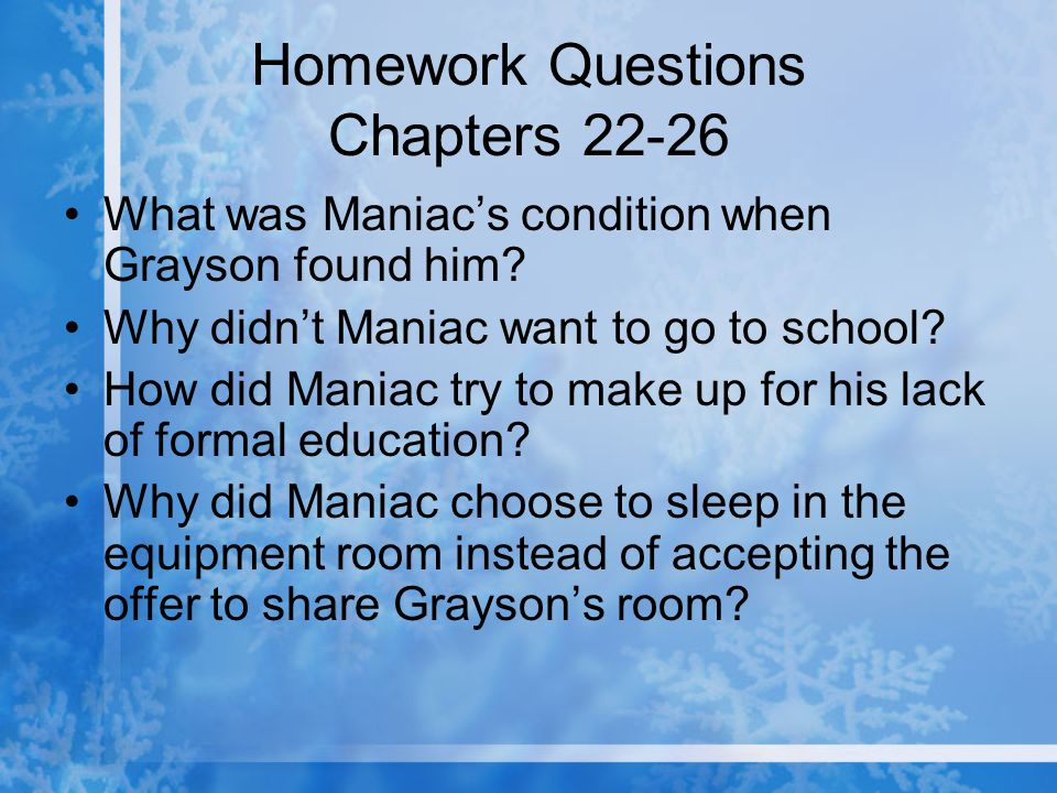 Homework Questions Chapters 22-26