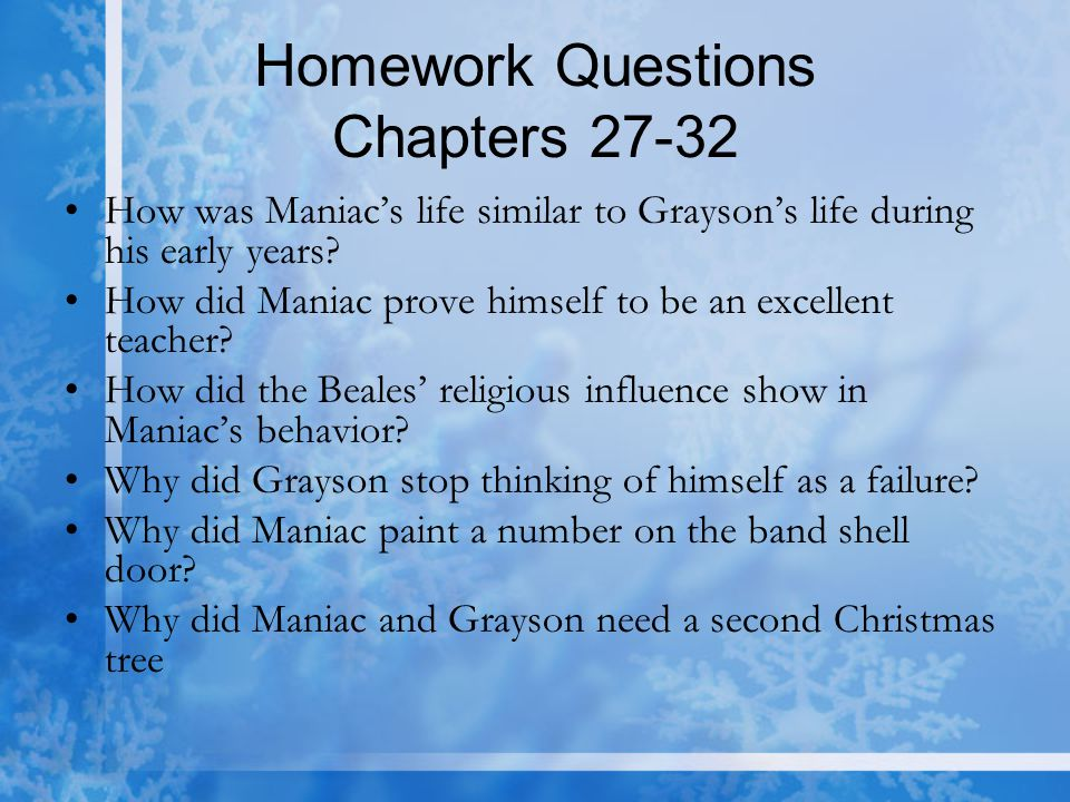 Homework Questions Chapters 27-32