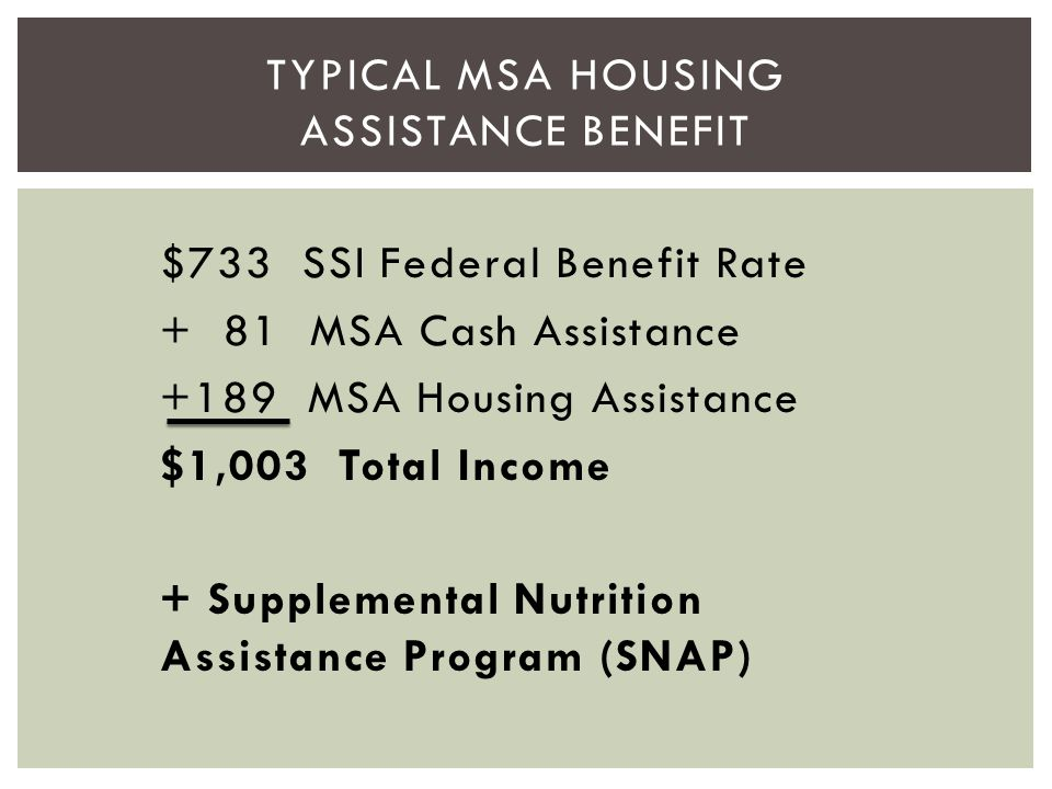 Typical MSA Housing Assistance Benefit