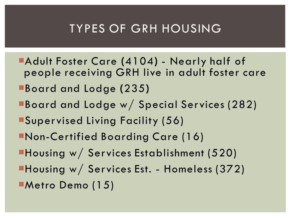 Types of GRH HousinG Adult Foster Care (4104) - Nearly half of people receiving GRH live in adult foster care.