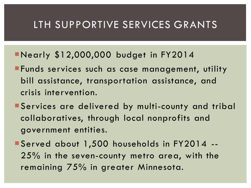 LTH Supportive Services Grants